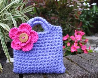 Little Girl Little Purse in bluebell with fuschia flower