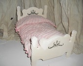 15 INch wooden hand painted doll bed with hand made bedding
