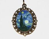 Starry Night, Van Gogh Necklace, Star, Night Sky, Fine Art, Cosmic Jewelry, Stars, Oval Pendant