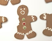 Half Eaten Gingerbread Cookie Christmas Ceramic Ornament Collection