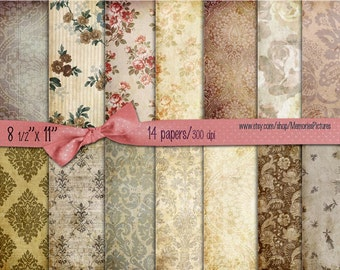 Digital Scrapbooking Papers pack // vintage  brown  //  Flowers, roses, damask // decoupage, scrap  // 8.5 x 11 in sheets,  14   (020us)