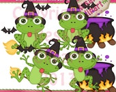 LiL Frog Witch Purple Clipart (Digital Download)