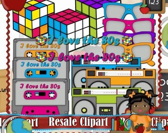 Awesome 80's Set Clipart (Digital Download ZIP File)