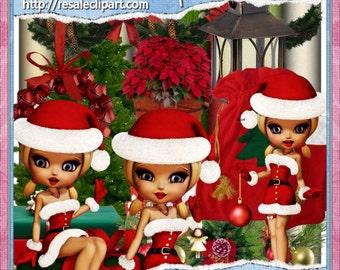 Christmas Fairy Girls Scrap Kit Clipart (Digital Download ZIP File)