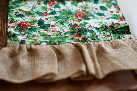fabric,  runner, Holly holly table burlap  print Christmas  table runner christmas ruffle retro