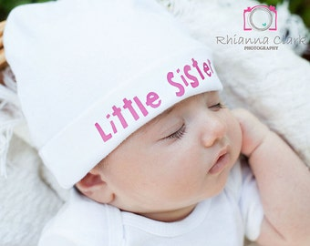 Infant Baby Girl Little Sister Little Sis Hat Beanie Newborn