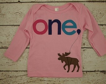 Girls birthday shirt Moose party woodland hot pink purple turquoise winter Customize Boys Girls Organic Blend Birthday Tee first second