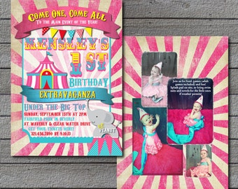 Girly Circus Carnival Birthday Invitation Digital file or Add Prints Front & Back