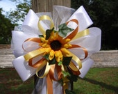 10 WHITE YELLOW BROWN Sunflower Pew Bows Wedding Decorations Bridal