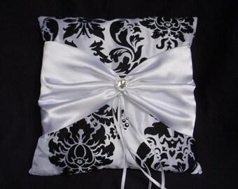 White Black Damask Square Satin Ring Bearer Pillow Bow Rhinestone Wedding Bridal