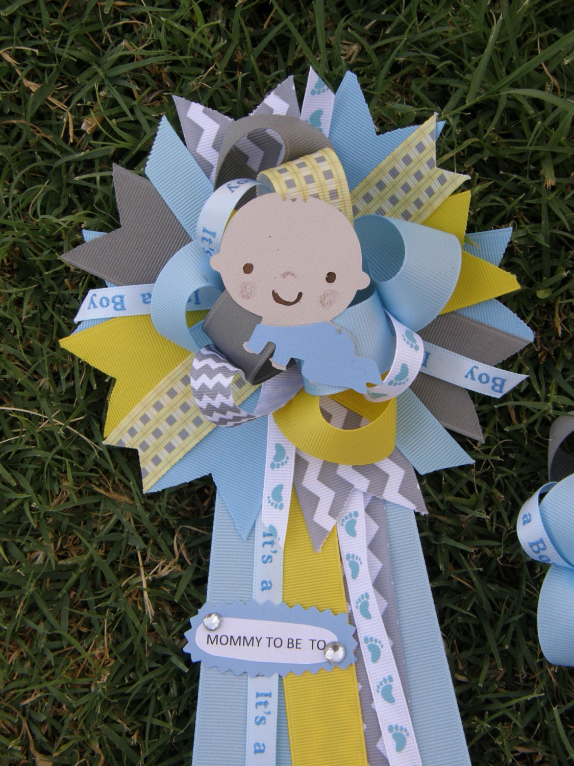 baby shower mum blue baby shower pin baby shower corsage by bonbow