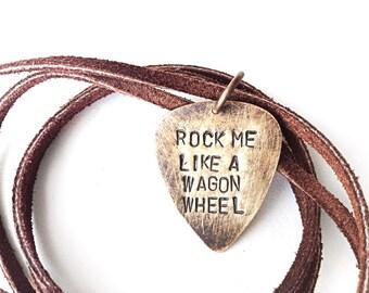 guitar pick - guitar pick necklce - jewelry men leather - rock me like a wagon wheel, handmade jewlery