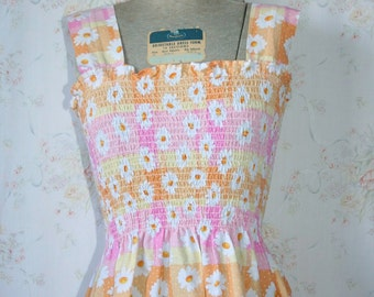 Vintage 60s Dress, 1960s Floral Print Sundress, Cover Up, Beach, MIni, Small
