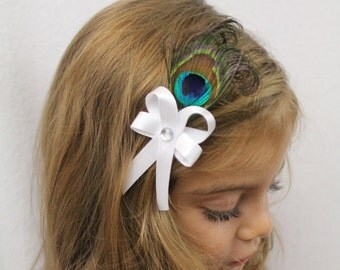 Peacock Hair Clip -  White Bow - Wedding Photo Prop - Peacock Feather Hair Accessories for Flower Girl
