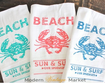 Beach Towels 3,Kitchen Towels,Flour Sack Towels,Tea Towels,Seaside,Coral,Oyster,Crab Towels,Coastal,Dish Towels,Modern Vintage Market