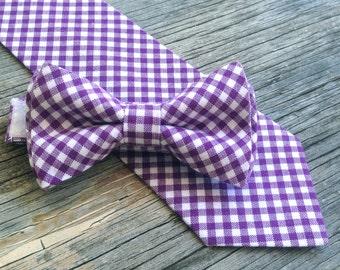 Purple Bowtie -- Purple Gingham Tie -- Plum Colored Tie -- Fall Bow Ties -- Fall Ties for Men -- Purple Tie for Men -- Purple Tie for Boys