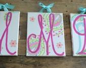 Kumari Garden Monogram Initial Art Paisley Splash Letter Wall Art My Baby Sam Custom Canvas