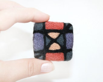 Felted brooch pin Square and Triangles Needle felt brooch Ready to ship