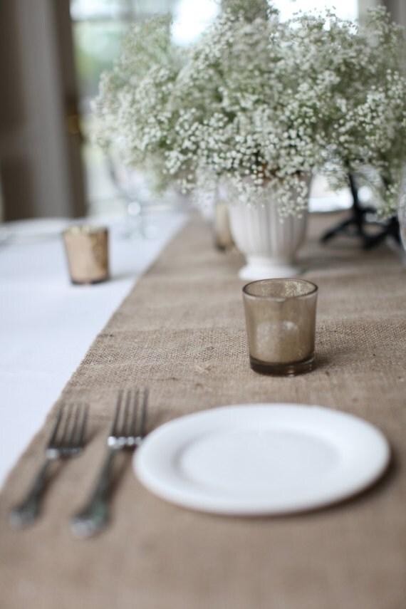 "Hemmed Burlap Table Runner 12"" or 14"" Wide Burlap Table Covering Rustic Wedding Tables Custom Size Table Runner"