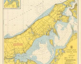 1949 Nautical Chart of Peconic Bay