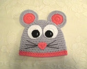 Miss Mouse Crocheted Hat - Photo Prop - Available in Any Size or Color Combination