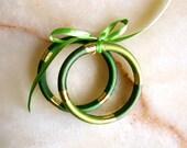 Moroccan jewelry - art silk fiber bracelet - thread bangles - green and gold - moroccan art