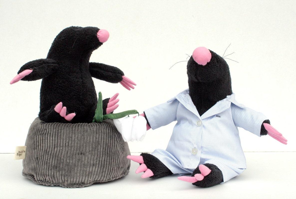 Black Mole Plushie, stuffed toy for children, Soft Plush Animal, Funny Softie