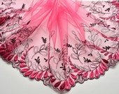 """RESERVED for REBECCA:Hot Pink Extra Wide Embroidered Trim, 12"""" Light Fuchsia Pink Floral Tulle Trim, Lingerie, Dolls"""