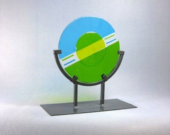 Mid Century Modern Art Glass Sculpture Circular Blue Green Signed Artist
