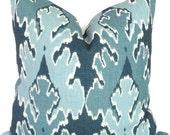 Teal Blue Ikat Pillow Cover Kelly Wearstler Square, Euro or Lumbar Pillow, Lee Jofa Bengal Bazaar, Throw Pillow, Accent Pillow, Toss Pillow