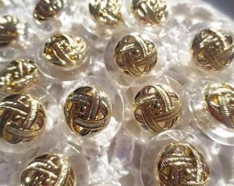 Shank Buttons Gold Clear Set  (27)