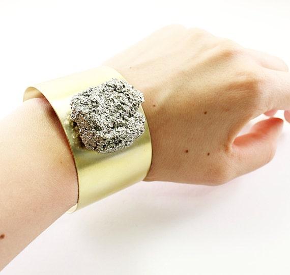 Rough stone cuff bracelet, big raw pyrite bracelet raw gemstone cuff, rough crystal jewelry, raw stone bracelet  rough gemstone bracelet