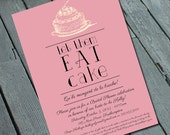 Let Them Eat Cake Bridal SHOWER or BIRTHDAY Party Invitation: Digital printable file