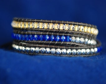 Sparkle Beaded Bracelet - Blue and Gold Bracelet - Blue Leather Wrap - Blue Wrap Bracelet (B269)