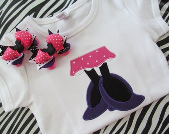 Disney Vacation- Pink and Purple Miss Mouse Feet Shirt Short or Long Sleeve with Matching Mini Pigtail Bows