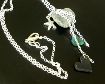 Heart Shape Stones, Hawaiian Sea Glass Hearts, Silver Starfish Charm, Handmade Beach Style Jewelry for All Occasion Wear, Gift Idea