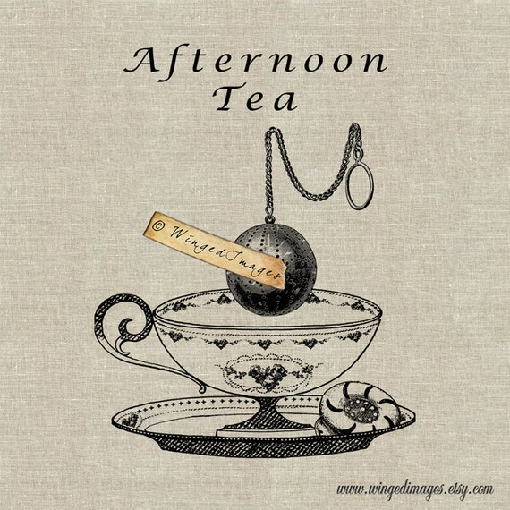 Afternoon Tea Instant Download Digital Image No.104 Iron-On Transfer to Fabric (burlap, linen) Paper Prints (cards, tags)