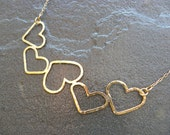Five Hearts Necklace in Brass