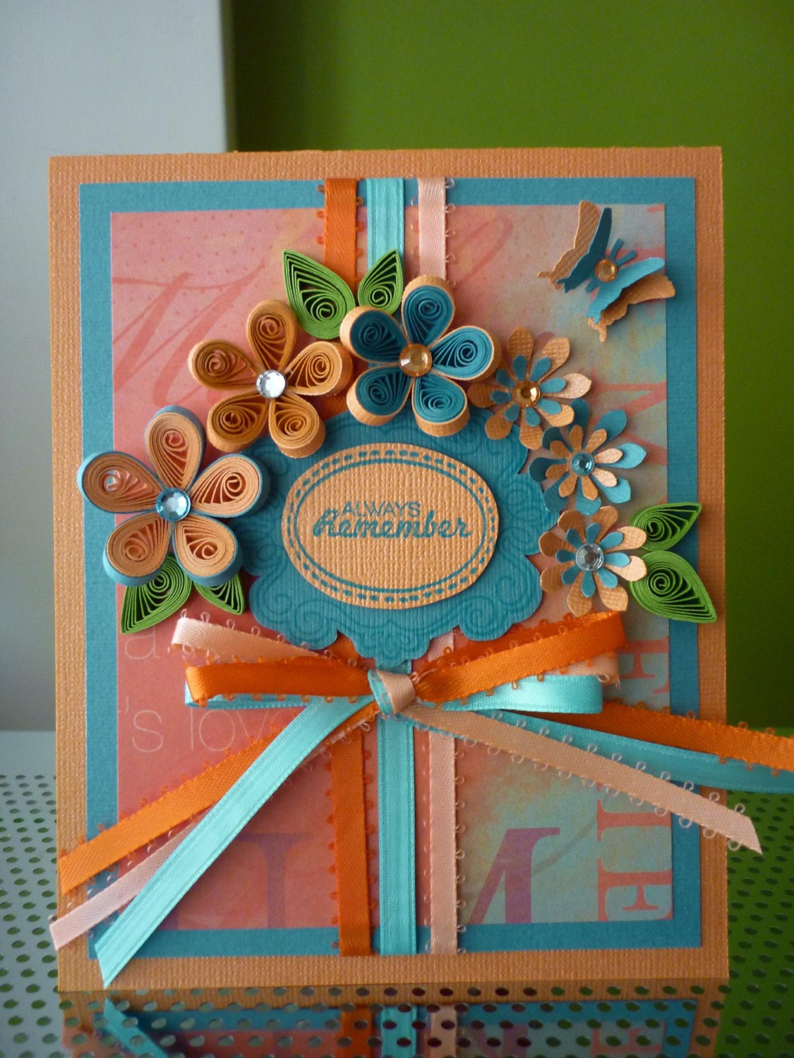 Handmade Greeting Turquoise Paper Quilling Card Always