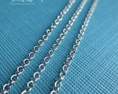 10 FT - platinum tone plated solid brass cable chain 2x1.5mm