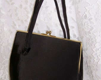 Vintage 1950's Dark Brown or Black Handbag  - Purse