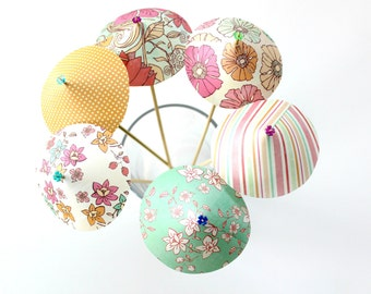 Floral Summer Paper Drink Umbrellas, Drink Stirrers, Spring Party, Birthday Party, Party Drink Umbrella, Hawaiian Luau, Wedding, Set of 6