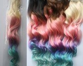 Full Set 100 grams, Bundle, Clip In Pastel Hair Extensions, Pink Hair, Hair Weave, Wide Tracks, Ombre Hair Extensions, Pink Hair, Mint Hair