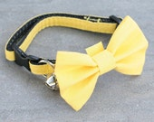 Yellow Collar, Pet Play, Kitten Collar, Kitty Collar, Cat Collar - Yellow - Matching Bow Tie and Flower Available