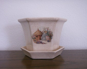 Ceramic Hex Shaped Planter with Saucer