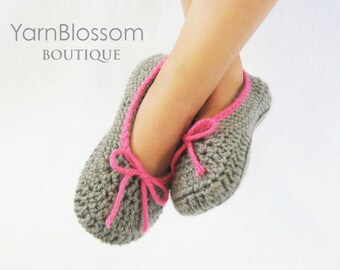 Crochet Slippers PATTERN - The Kayla Slipper - PDF pattern house shoes toddler shoe sizes 5-10 double sole
