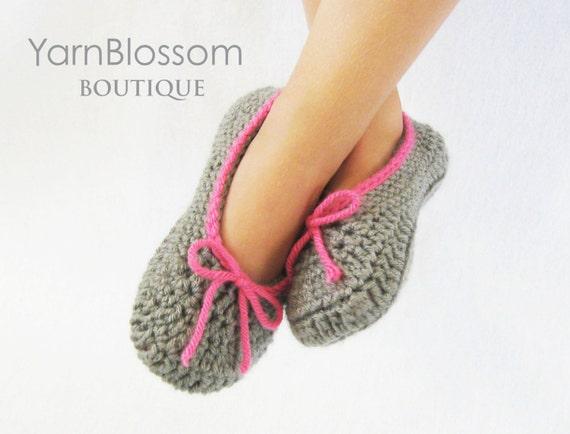 Crochet Slippers PATTERN - The Kayla Slipper - PDF pattern house shoes toddler shoe sizes 5-10 double sole
