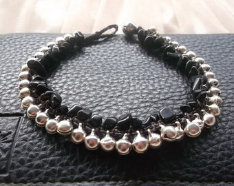 Anklet Handmade Black Stones/silver plate Beads Bells Thailand Fair Trade collection/Mother's day gift idea/Summer accessories/Gift for her/