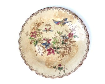 French vintage decorative plate.China flowers and birds design  Cottage chic