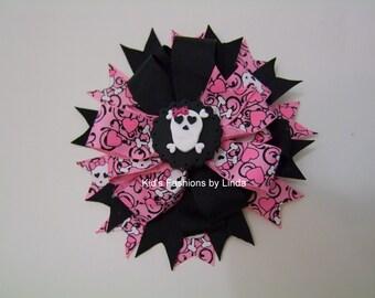 Black/Pink Skull Hair Bow